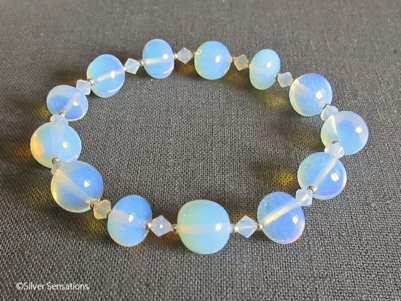 Blue Opalite Moonstone Nugget Beads Stretch Bracelet With